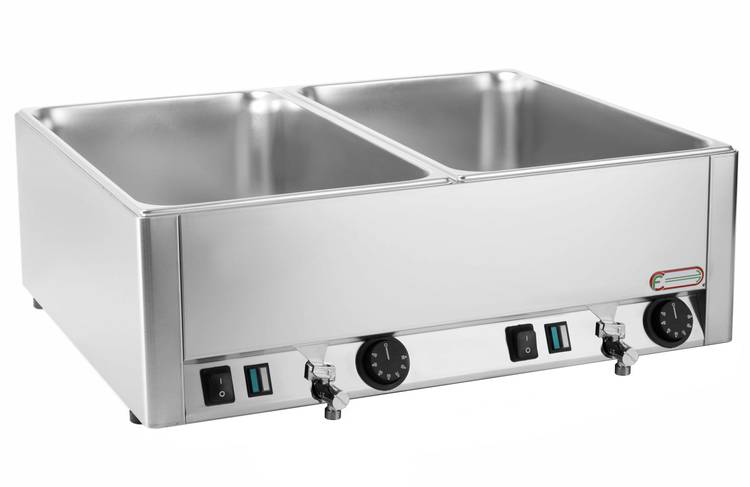 Electric bain marie with double shaped vat GN 1/1 and drain tap