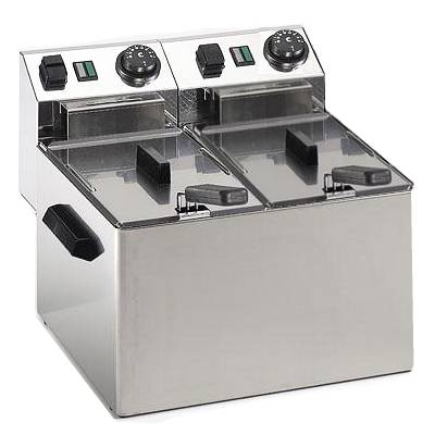 Commercial deep fryer with 2 basins of 4 liters