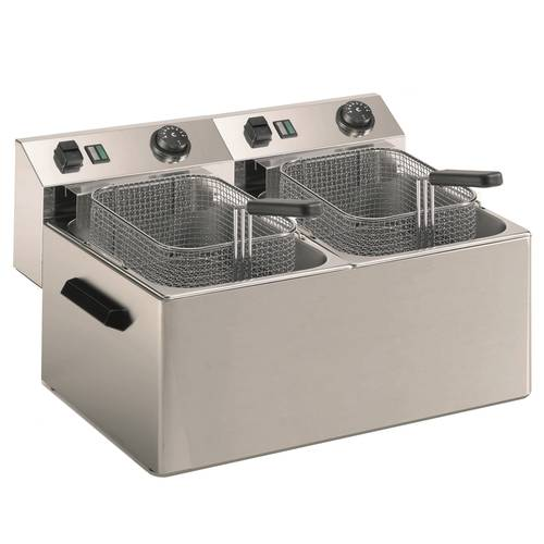 Commercial deep fryer with 2 basins of 7 liters