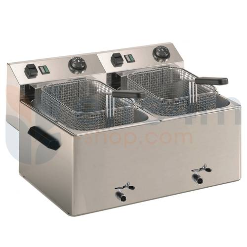 Commercial deep fryer with 2 basins of 7 liters with drain tap