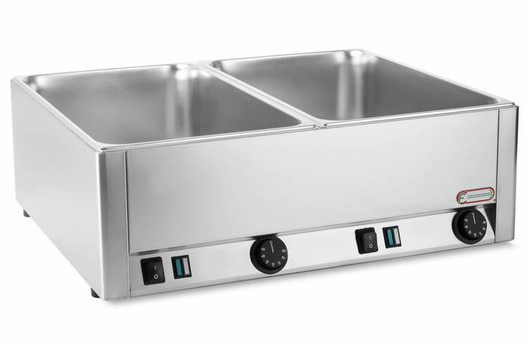 Electric bain marie with double shaped vat GN 1/1