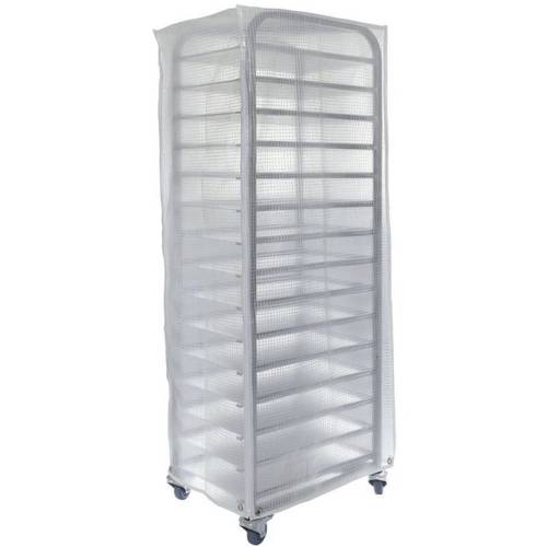 Zipped plastic bakery rack covers