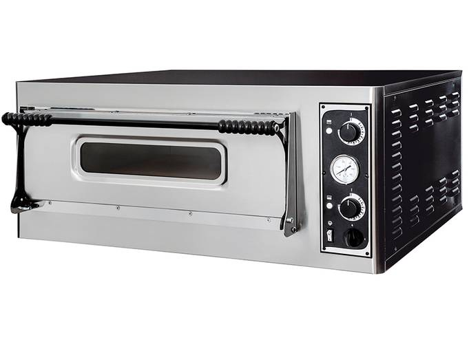 Professional electric pizza oven with glass door and 66x66 cm chamber