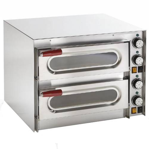 Electric pizza oven with glass doors and 2 chambers 41x36 cm