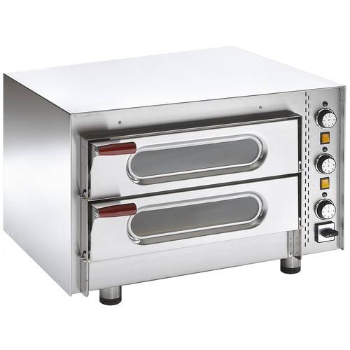 Professional electric pizza oven with glass doors and 2 chambers 62x42 cm