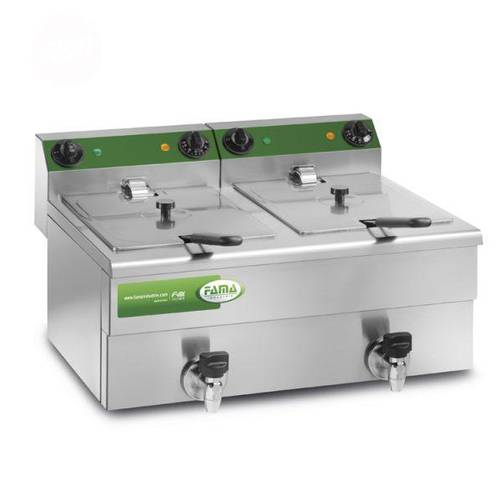 Deep fryer with 2 basins of 10 liters and drain tap MFR210R