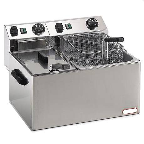 Commercial deep fryer with 2 basins of 4+7 liters