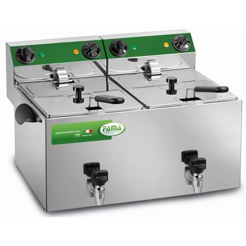 Deep fryer with 2 basins of 6 liters and drain tap MFR280R