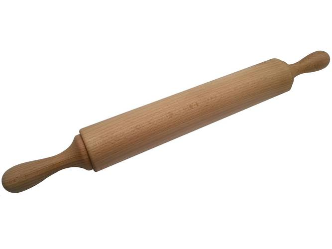 Rolling pin with wooden handles on bearings