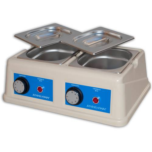 Professional chocolate melter  with two basins of 1,5 liters