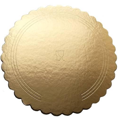 Disco sottotorta oro festonato in cartone