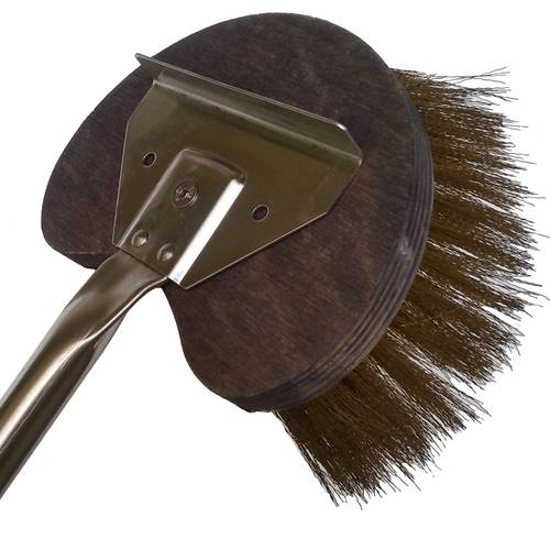 Rotating half moon oven brass brush