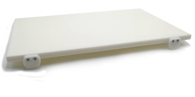 White polyethylene cutting board with stoppers 60x40 cm