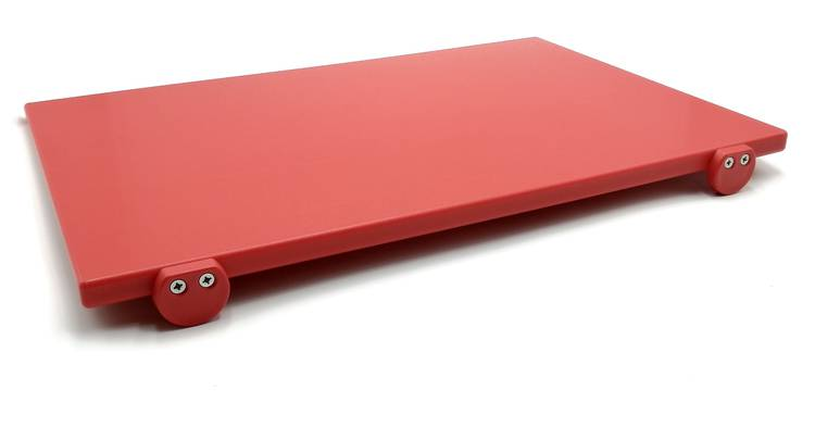 Red polyethylene cutting board with stoppers 60x40 cm