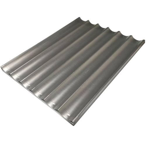 Teglia da forno per baguette forata in alluminio cm 60x80 su traversino