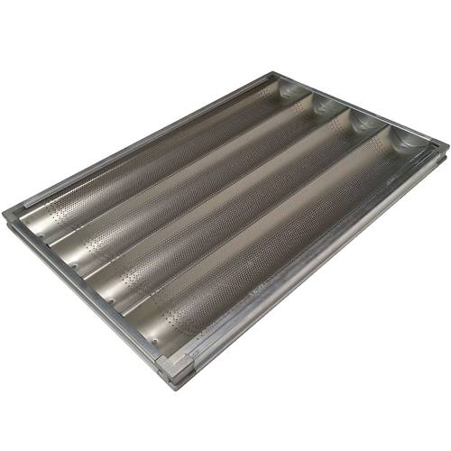 Baguettes tray in perforated aluminium with frame cm 60x40